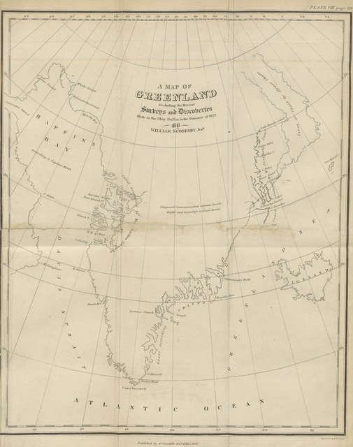 "map from ""Journal of a Voyage to the Northern Whale-fishery; including researches and discoveries in the Eastern coast of West Greenland, made in the summer of the year 1822, in the ship Baffin, etc"""