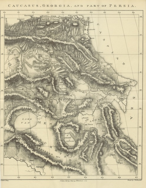 """map from """"Letters from the Caucasus and Georgia; to which are added the Account of a journey into Persia in 1812, and an abridged history of Persia since the time of Nadir Shah. Translated from the French [of W. von F. and Frederika von Freygang]"""""""