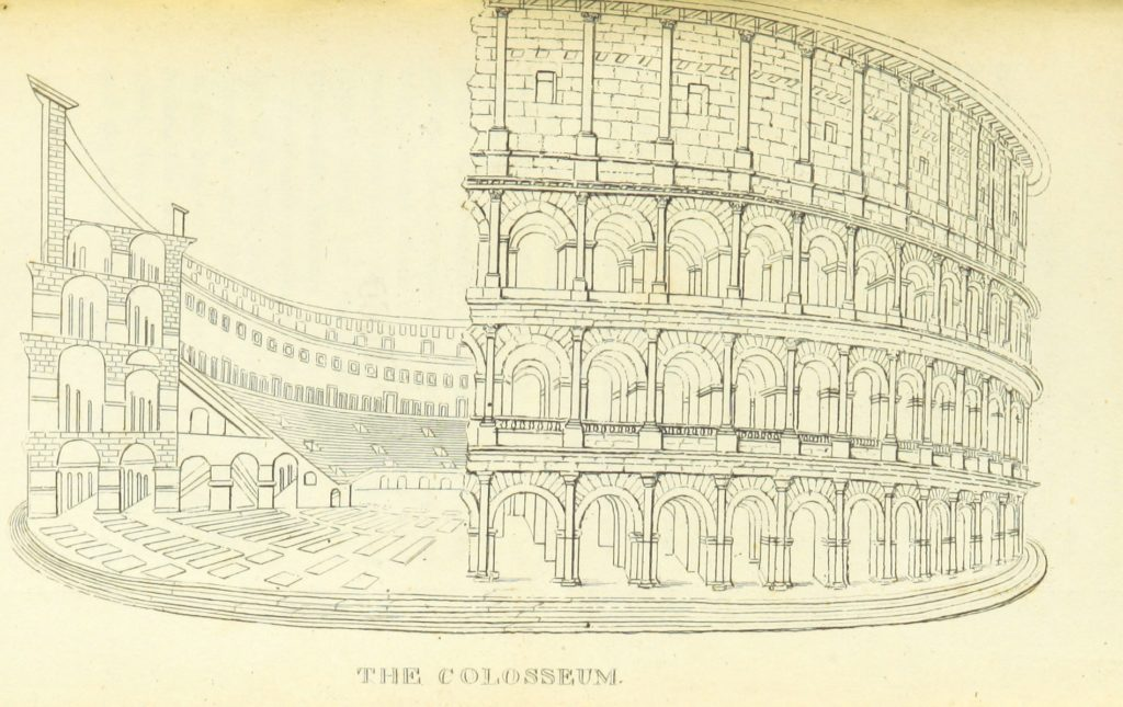 "Colosseum from ""The Perambulation of Oxford, Blenheim, and Nuneham; to which is added an appendix to the Oxford Guide (containing a description of the amphitheatre at Verona, ... also the history of the celebrated painting in the picture gallery, called the School of Athens, by Julio Romano), with a plan of Oxford and other plates"""