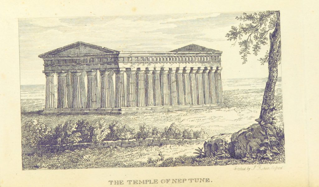 """Greek Temples from """"The Perambulation of Oxford, Blenheim, and Nuneham; to which is added an appendix to the Oxford Guide (containing a description of the amphitheatre at Verona, ... also the history of the celebrated painting in the picture gallery, called the School of Athens, by Julio Romano), with a plan of Oxford and other plates"""""""