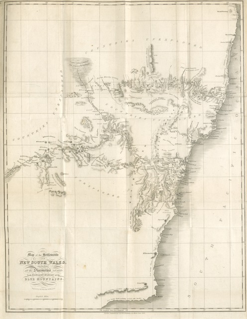 "map from ""[A Statistical, historical, and political Description of the Colony of New South Wales, and its dependent Settlements in Van Diemen's Land, etc.]"""