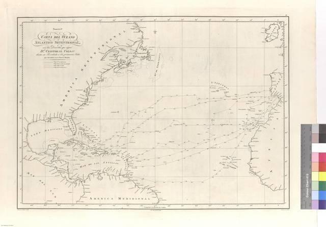 Carta del Océano Atlántico Septentrional : con las Derrotas que siguió Dn, Cristobal Colon hasta su Recalada a las primeras islas que descubrió en el Nuevo Mundo