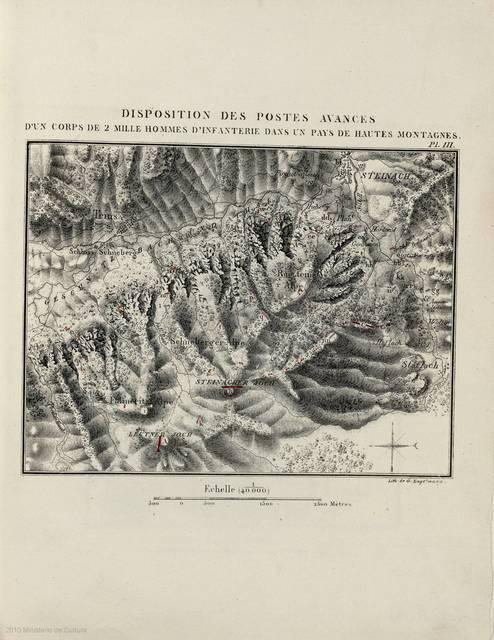 Disposition des postes avances : [carte] : d'un corps de 2 Mille hommes d'infanterie dans un pays de hantes montagnes