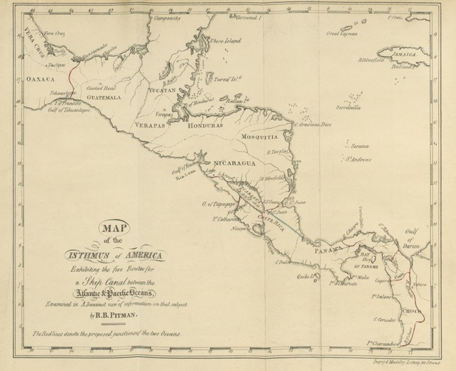 """map from """"A Succinct View and Analysis of authentic information extant in original works on the practicability of joining the Atlantic and Pacific Oceans by a Ship Canal across the Isthmus of America"""""""