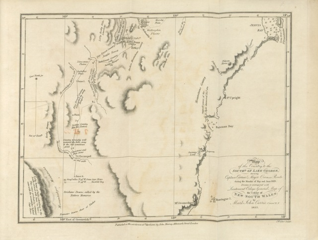 "map from ""Geographical memoirs on New South Wales. By various hands ... Edited by B. F. [With an appendix.]"""