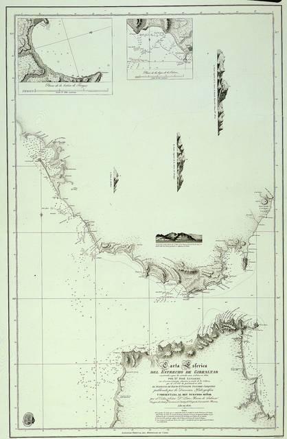 Carta esférica del Estrecho de Gibraltar