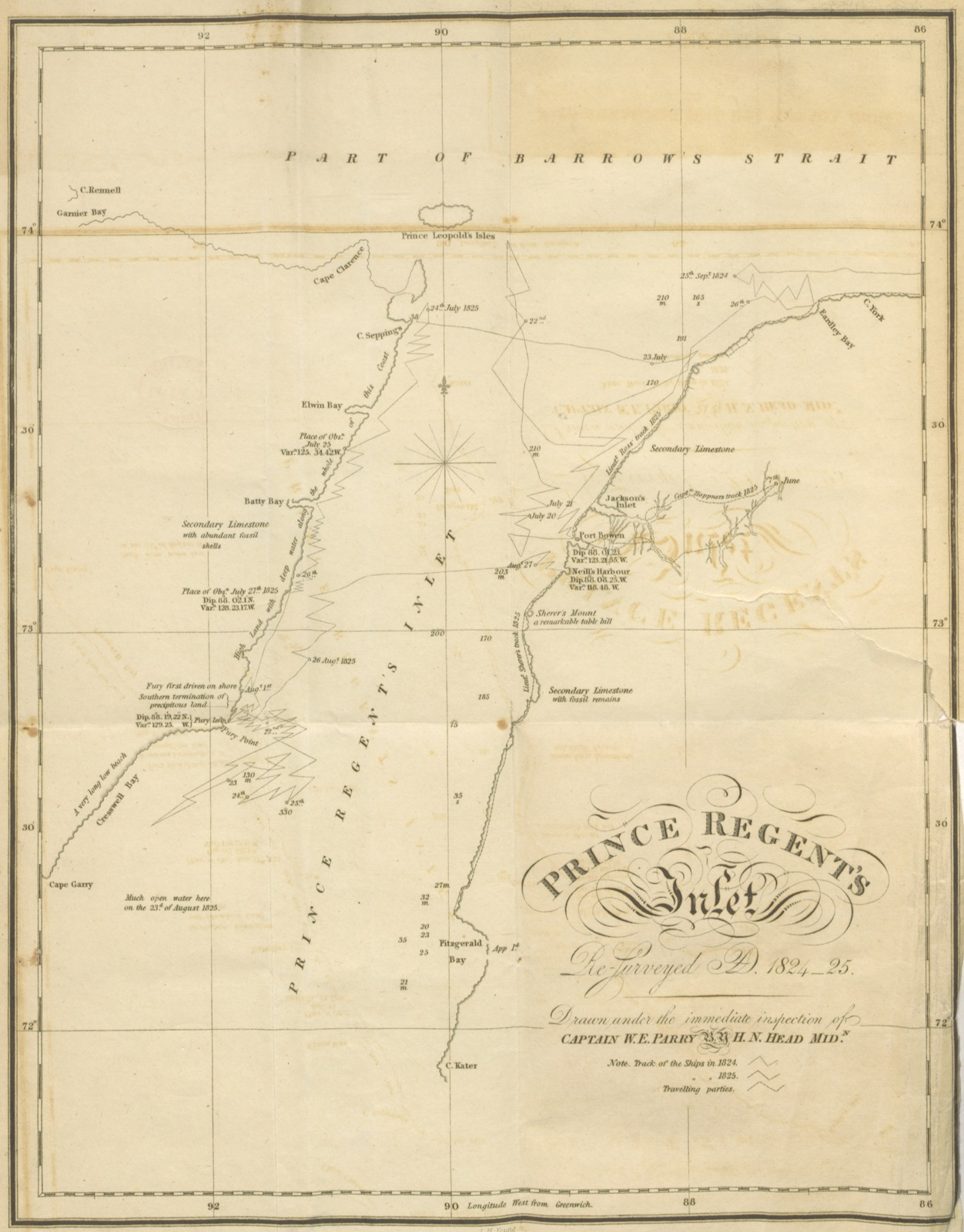 """map from """"[Journal of a Third Voyage for the discovery of a North-West Passage from the Atlantic to the Pacific; performed in the years 1824, 25, in His Majesty's ships Hecla and Fury, under the orders of ... W. E. P. ... Illustrated by plates and charts. (Appendix. Zoology ... By Lieut. J. C. Ross. Botanical Appendix by Professor Hooker. Notes on ... Geology ... By Professor Jameson.)]"""""""