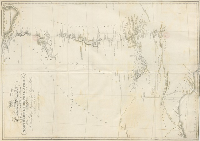 """map from """"[Narrative of Travels and Discoveries in Northern and Central Africa, in the years 1822, 1823, and 1824, by Major Denham, Captain Clapperton and the late Doctor Oudney ... With an appendix ... by Major D. Denham ... and Captain H. Clapperton [including """"Translations from the Arabic, of various letters and documents, brought from Bornou and Soudan by Major Denham and Captain Clapperton. By A. Salame,"""" """"Botanical Appendix. By Robert Brown,"""" and """"Letter to Major Denham, on the rock specimens brought from Africa. By Charles Konig""""]. [With plates and maps.]]"""""""