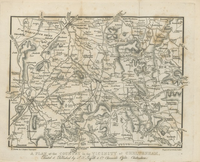 """map from """"New Historical Description of Cheltenham and its vicinity ... Embellished with ... engravings and maps, etc. [By Samuel Young Griffith.]"""""""