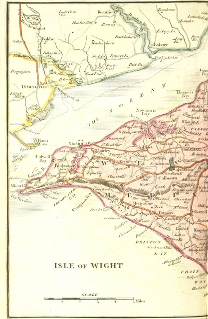 """map from """"The Beauties of the Isle of Wight; containing an account of its watering places, etc"""""""