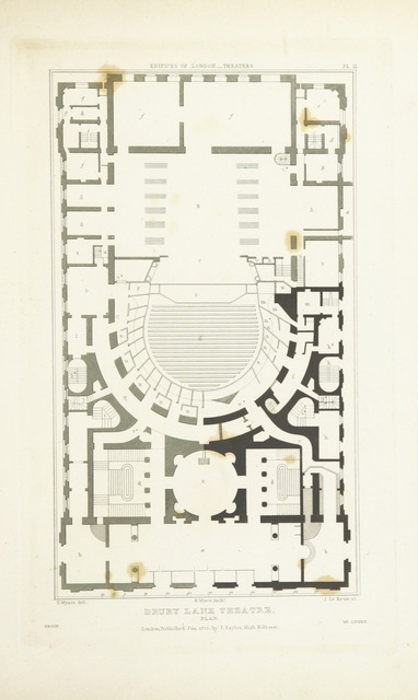 """plan from """"History and Illustrations of the London Theatres: comprising an account of the origin and progress of the drama in England; with historical and descriptive accounts of the Theatres Royal, Covent Garden, Drury Lane, Haymarket, English Opera House, and Royal Amphitheatre ... Illustrated with engravings"""""""