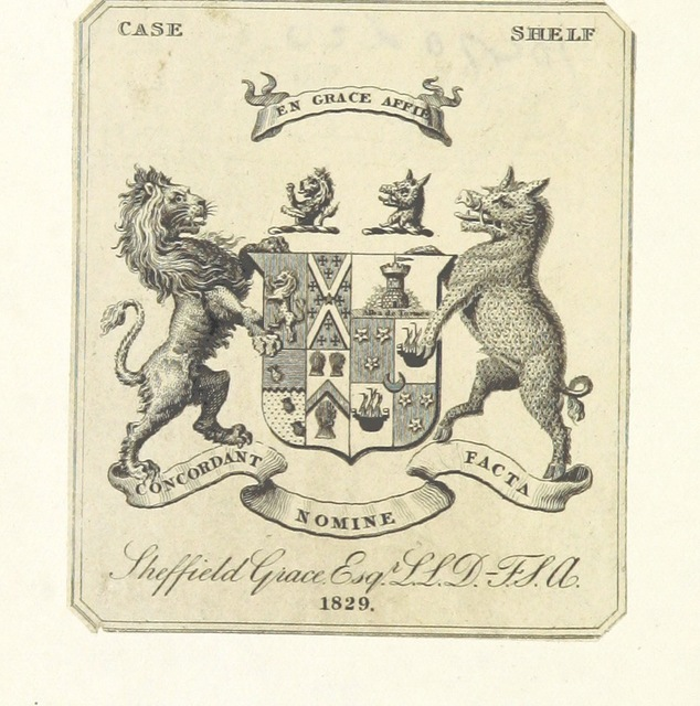 """coat of arms from """"[The Substance of a Journal during a Residence at the Red River Colony, British North America; and frequent Excursions among the North-West American Indians, in the years 1820-1823.]"""""""