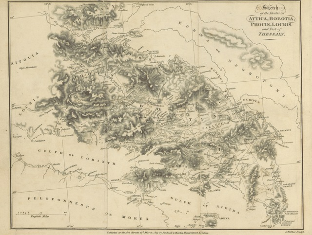 """map from """"The Itinerary of Greece; containing one hundred routes in Attica Boeatia, Phocis ... New edition"""""""