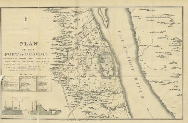 """map from """"Two Years in Ava, from May 1824 to May 1826. By an Officer on the Staff of the Quarter-Master General's Department [i.e. Thomas Abercromby Trant. With maps]"""""""