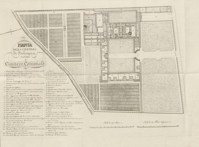 """map from """"Descrizione della Certosa di Bologna, ora Cimitero Comunale. [With a plan.]"""""""