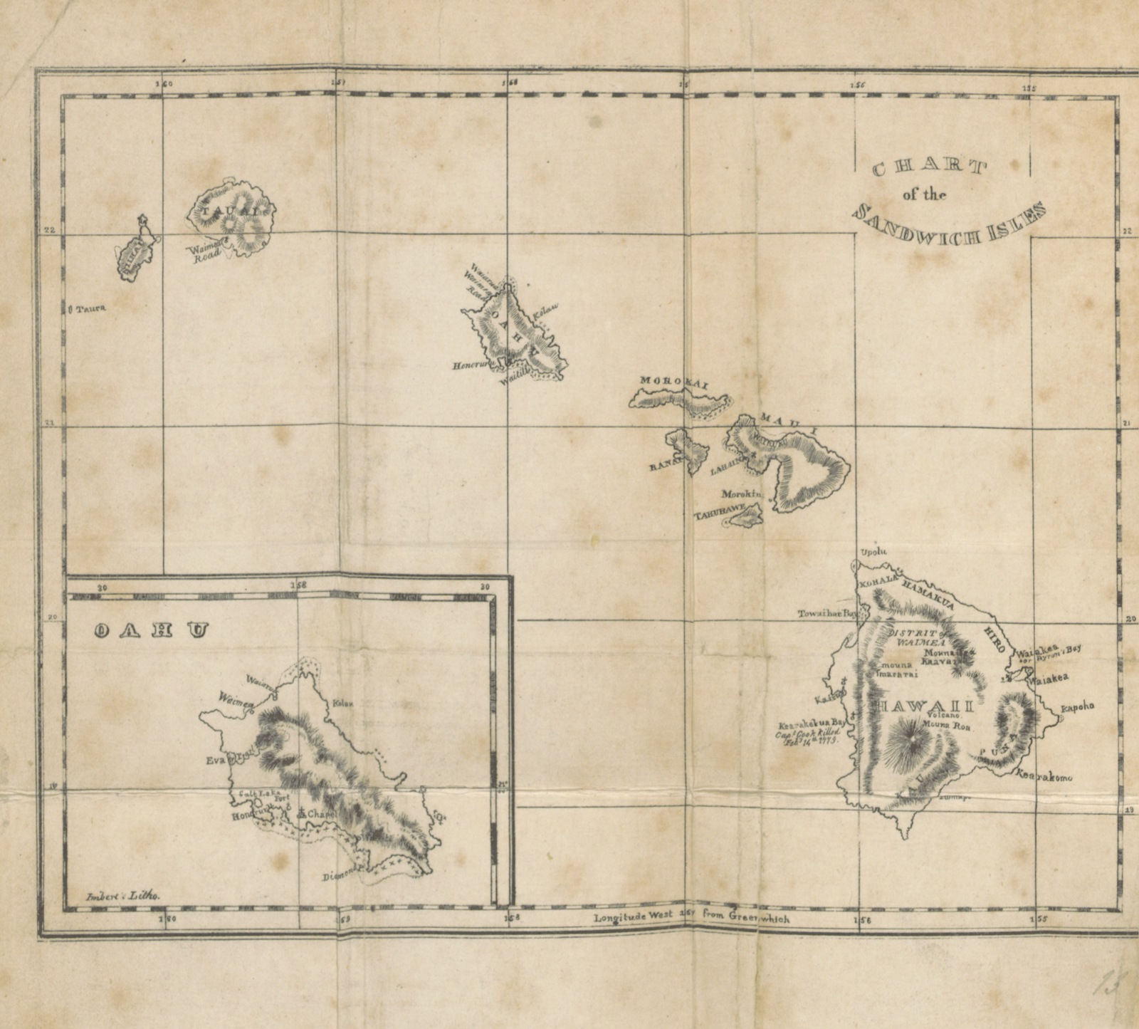 "map from ""Private Journal of a voyage to the Pacific Ocean, and residence at the Sandwich Islands, in the years 1822, 1823, 1824, and 1825"""