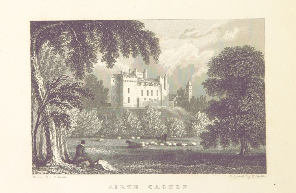 "Airth Castle from ""Modern Athens, displayed in a series of views; or, Edinburgh in the nineteenth century; exhibiting the whole of the new buildings, modern improvements, antiquities, & picturesque scenery of the Scottish metropolis & its environs, from original drawings by Mr. T. H. Shepherd. With historical, topographical & critical illustrations [by John Britton]"""