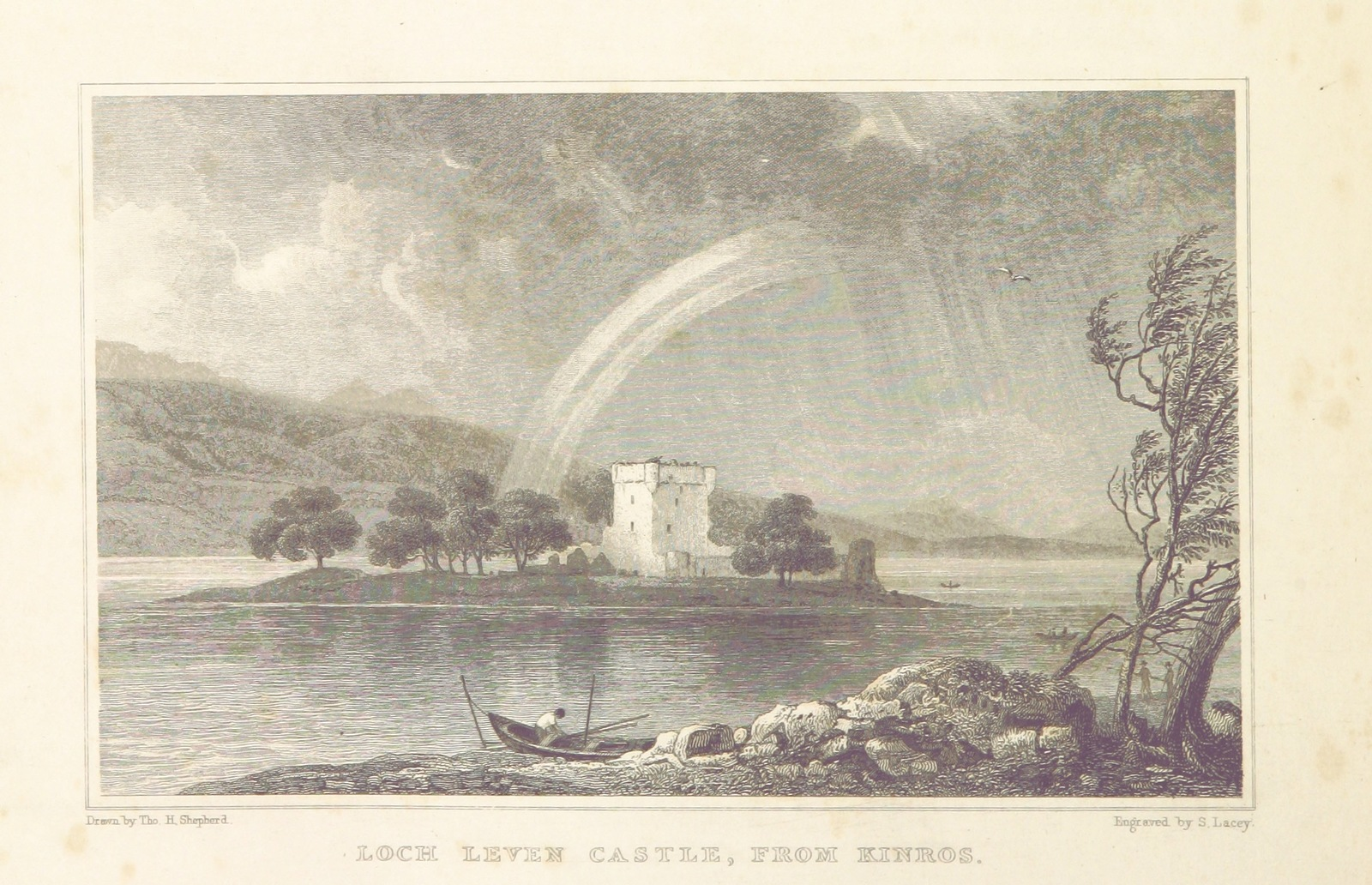 """Castle Island, Loch Leven, near Kinross, Scotland from """"Modern Athens, displayed in a series of views; or, Edinburgh in the nineteenth century; exhibiting the whole of the new buildings, modern improvements, antiquities, & picturesque scenery of the Scottish metropolis & its environs, from original drawings by Mr. T. H. Shepherd. With historical, topographical & critical illustrations [by John Britton]"""""""