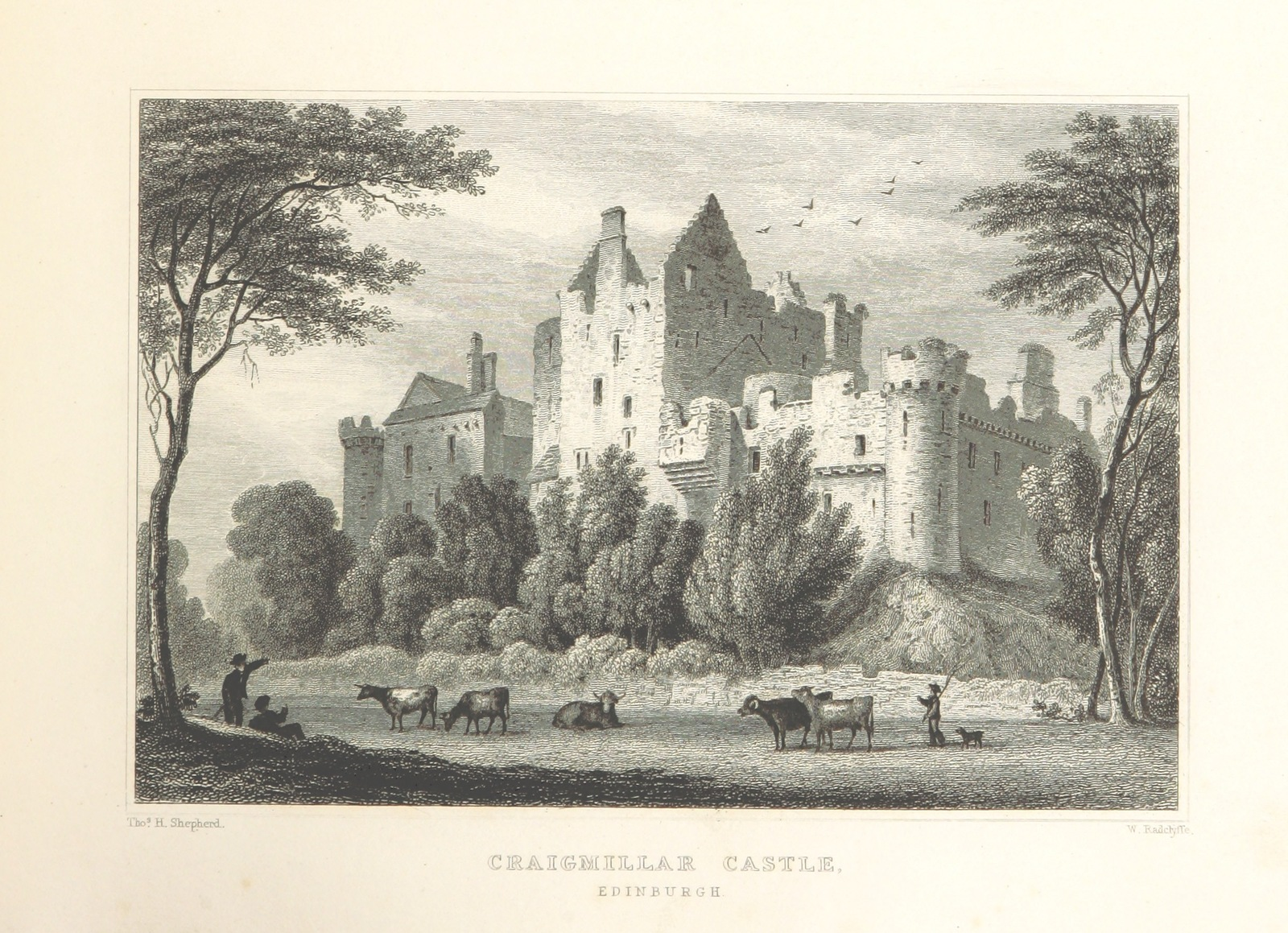 "Craigmillar Castle from ""Modern Athens, displayed in a series of views; or, Edinburgh in the nineteenth century; exhibiting the whole of the new buildings, modern improvements, antiquities, & picturesque scenery of the Scottish metropolis & its environs, from original drawings by Mr. T. H. Shepherd. With historical, topographical & critical illustrations [by John Britton]"""