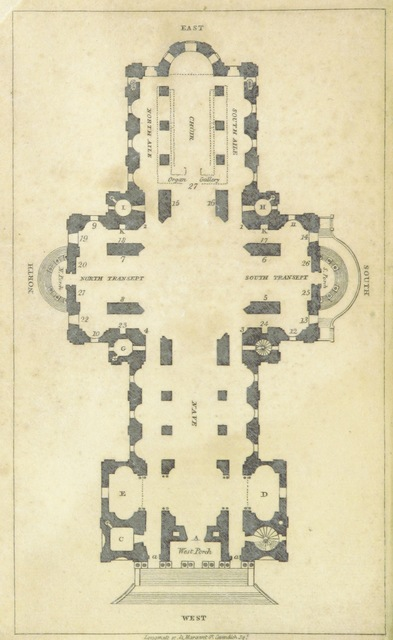 """diagram from """"A Popular Description of St. Paul's Cathedral; including a brief history of the Old and New Cathedral. [By M. Hackett.] ... Eighteenth edition"""""""