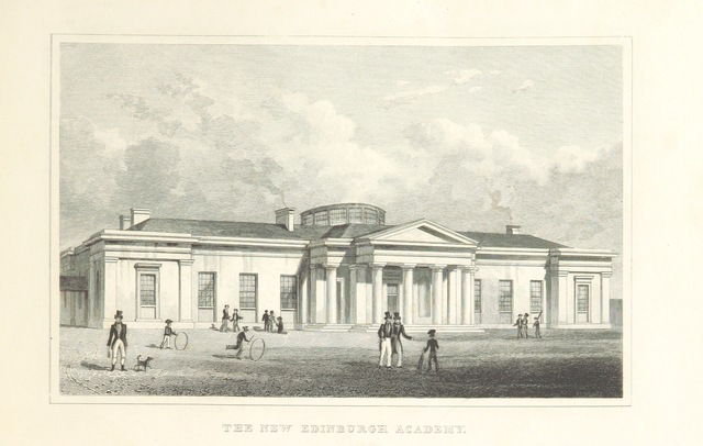 """Edinburgh Academy from """"Modern Athens, displayed in a series of views; or, Edinburgh in the nineteenth century; exhibiting the whole of the new buildings, modern improvements, antiquities, & picturesque scenery of the Scottish metropolis & its environs, from original drawings by Mr. T. H. Shepherd. With historical, topographical & critical illustrations [by John Britton]"""""""