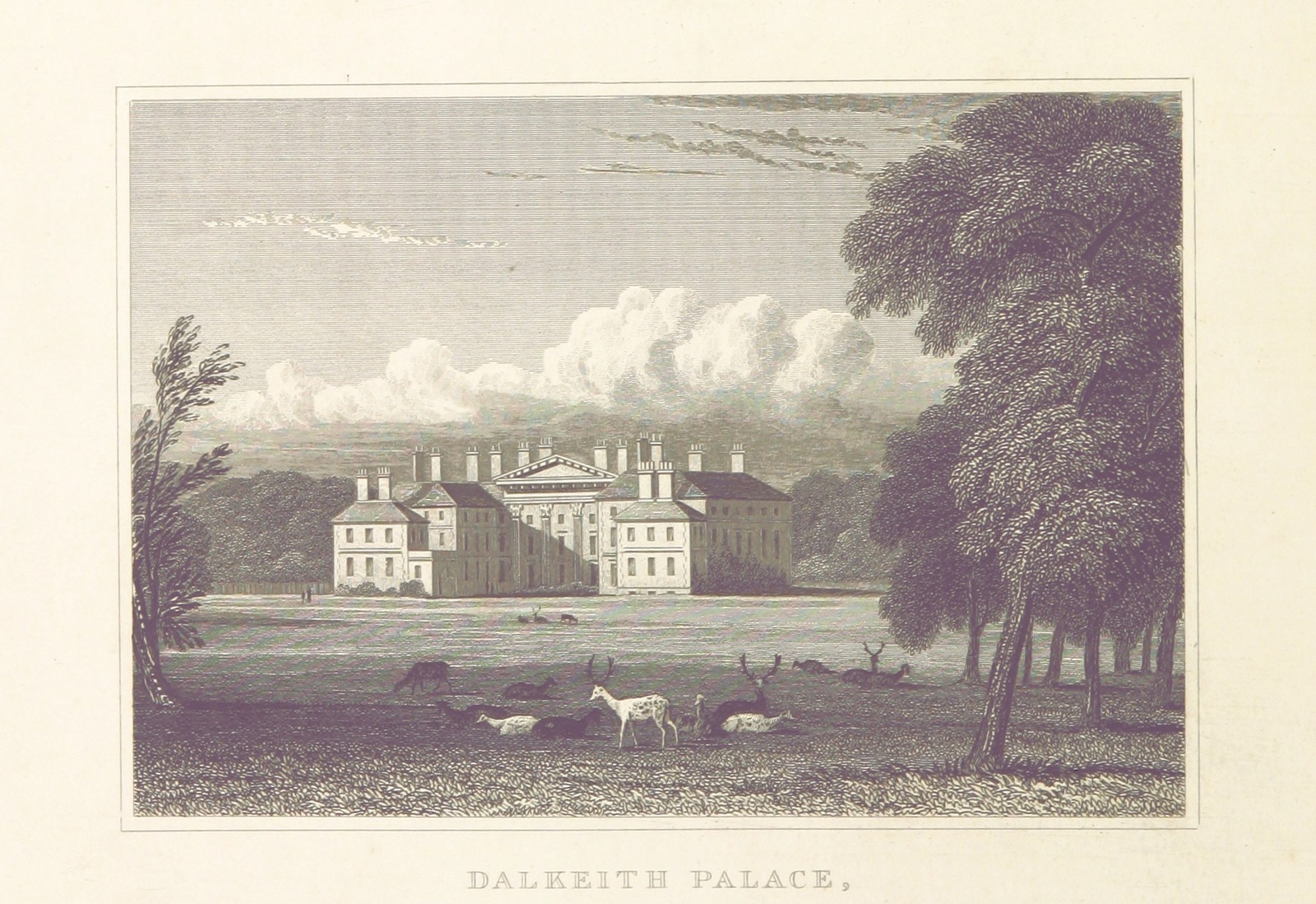 """former seat of the Duke of Buccleuch from """"Modern Athens, displayed in a series of views; or, Edinburgh in the nineteenth century; exhibiting the whole of the new buildings, modern improvements, antiquities, & picturesque scenery of the Scottish metropolis & its environs, from original drawings by Mr. T. H. Shepherd. With historical, topographical & critical illustrations [by John Britton]"""""""