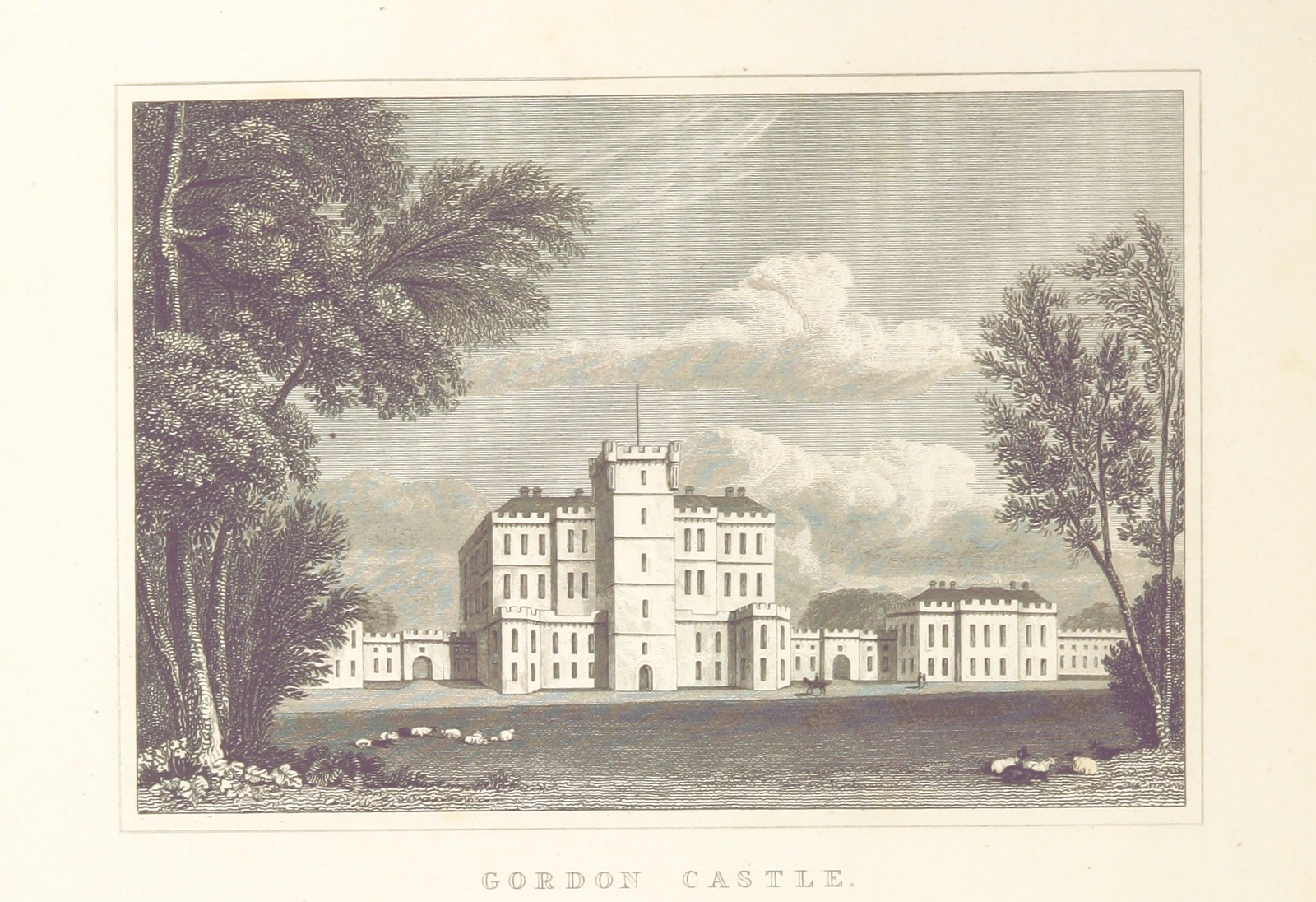 "Gordon Castle from ""Modern Athens, displayed in a series of views; or, Edinburgh in the nineteenth century; exhibiting the whole of the new buildings, modern improvements, antiquities, & picturesque scenery of the Scottish metropolis & its environs, from original drawings by Mr. T. H. Shepherd. With historical, topographical & critical illustrations [by John Britton]"""