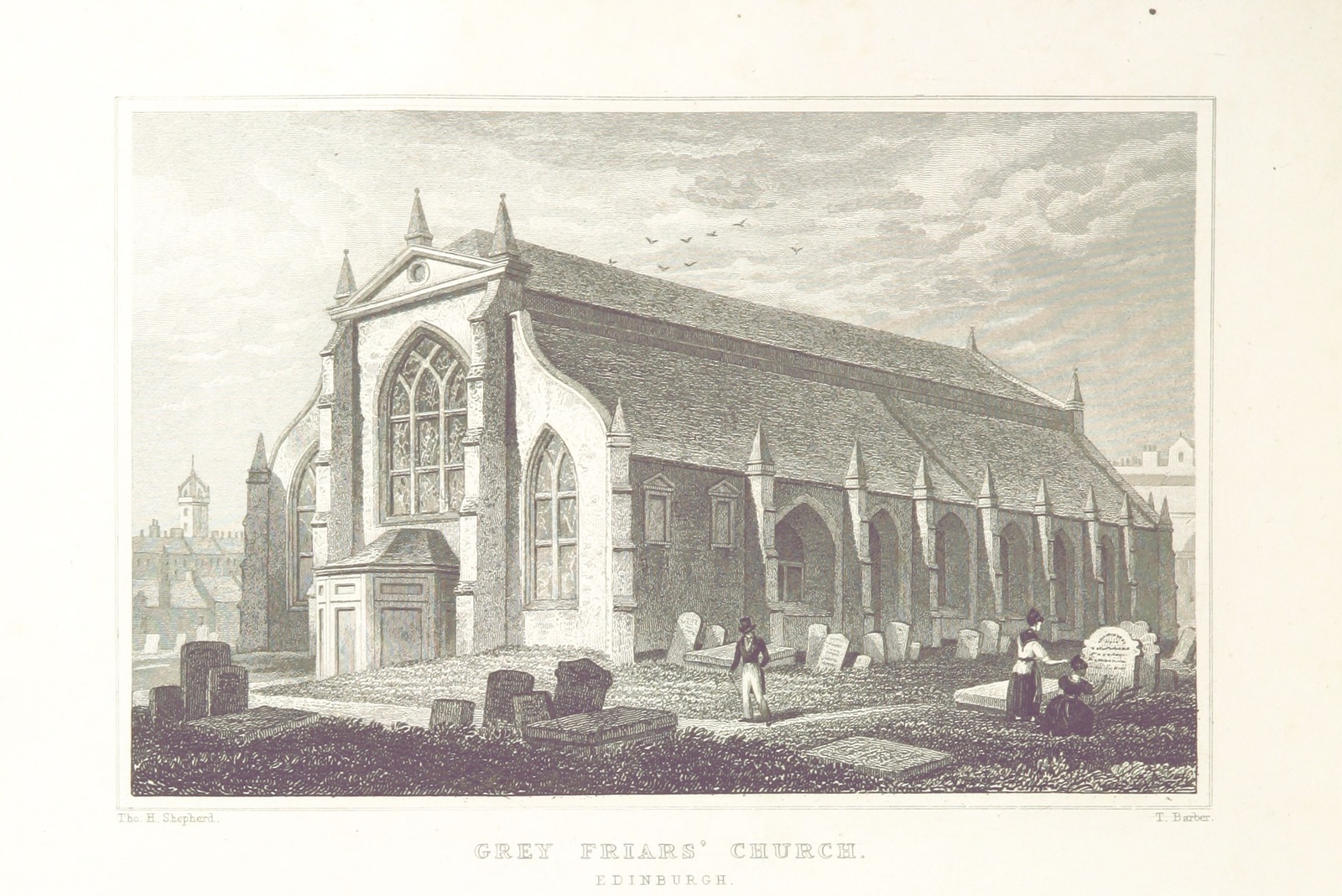 """Greyfriars Kirk from """"Modern Athens, displayed in a series of views; or, Edinburgh in the nineteenth century; exhibiting the whole of the new buildings, modern improvements, antiquities, & picturesque scenery of the Scottish metropolis & its environs, from original drawings by Mr. T. H. Shepherd. With historical, topographical & critical illustrations [by John Britton]"""""""
