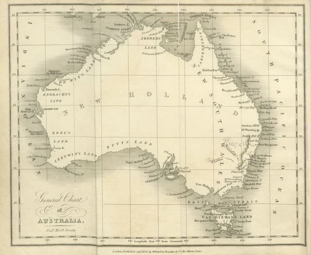 "map from ""The Picture of Australia: exhibiting New Holland, Van Diemen's Land, and all the Settlements, from the first at Sydney to the last at the Swan River. [By Robert Mudie. With a map.]"""