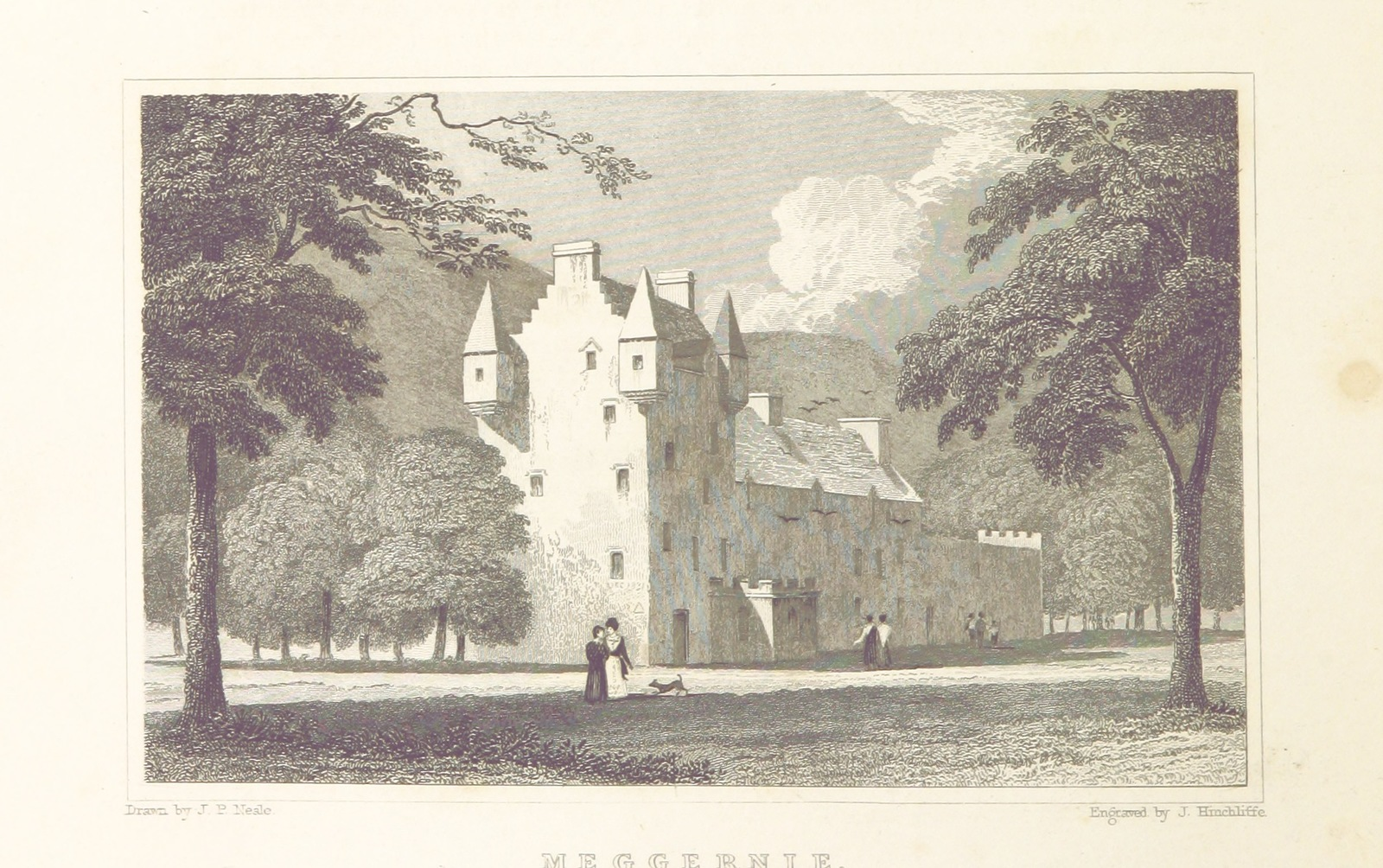 """Meggernie Castle from """"Modern Athens, displayed in a series of views; or, Edinburgh in the nineteenth century; exhibiting the whole of the new buildings, modern improvements, antiquities, & picturesque scenery of the Scottish metropolis & its environs, from original drawings by Mr. T. H. Shepherd. With historical, topographical & critical illustrations [by John Britton]"""""""