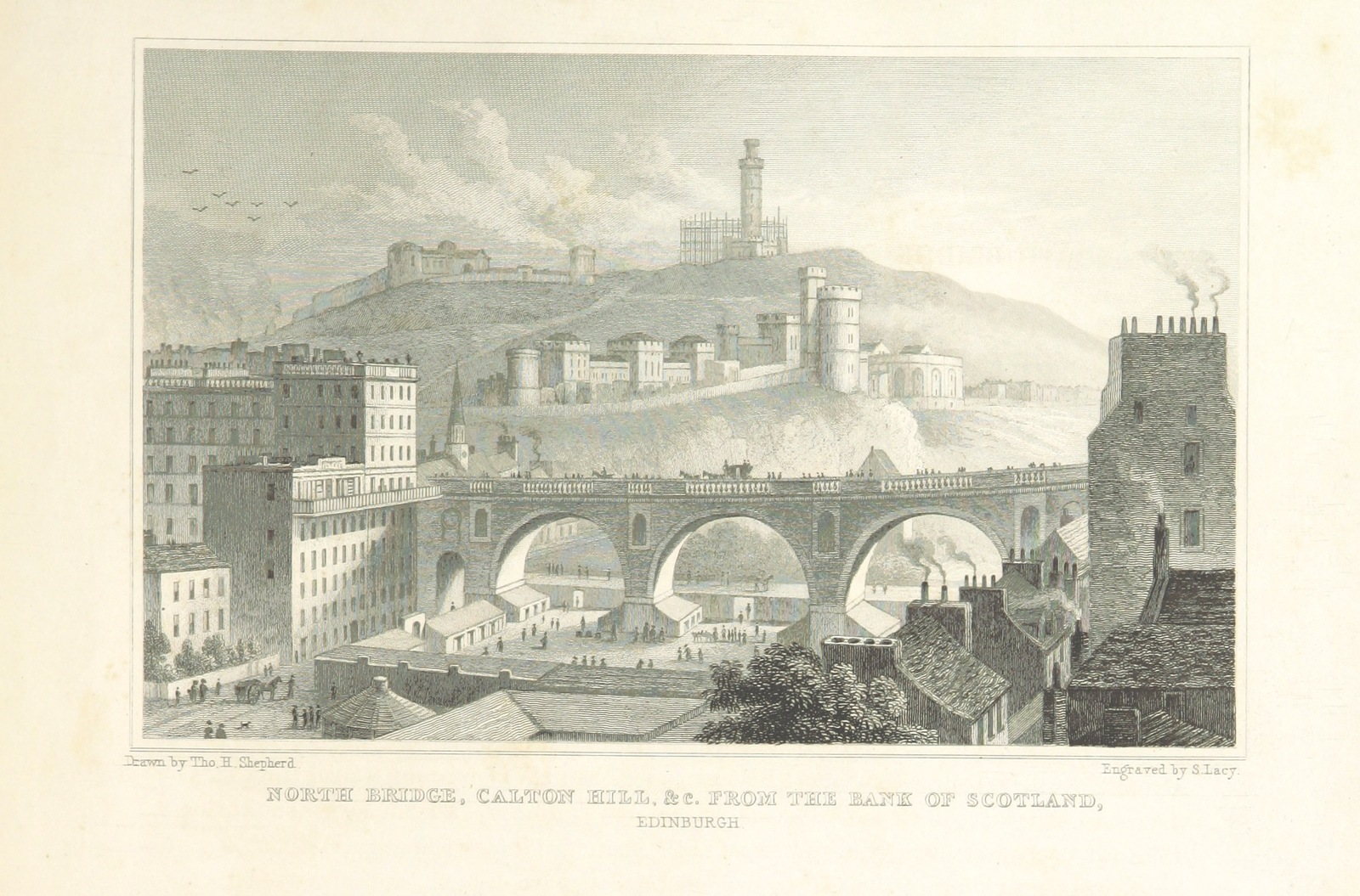 """North Bridge from """"Modern Athens, displayed in a series of views; or, Edinburgh in the nineteenth century; exhibiting the whole of the new buildings, modern improvements, antiquities, & picturesque scenery of the Scottish metropolis & its environs, from original drawings by Mr. T. H. Shepherd. With historical, topographical & critical illustrations [by John Britton]"""""""