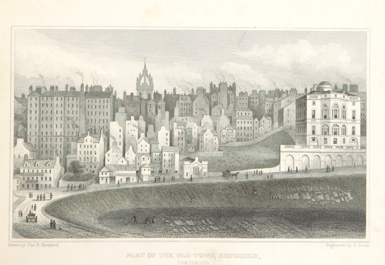 """Old Town from """"Modern Athens, displayed in a series of views; or, Edinburgh in the nineteenth century; exhibiting the whole of the new buildings, modern improvements, antiquities, & picturesque scenery of the Scottish metropolis & its environs, from original drawings by Mr. T. H. Shepherd. With historical, topographical & critical illustrations [by John Britton]"""""""