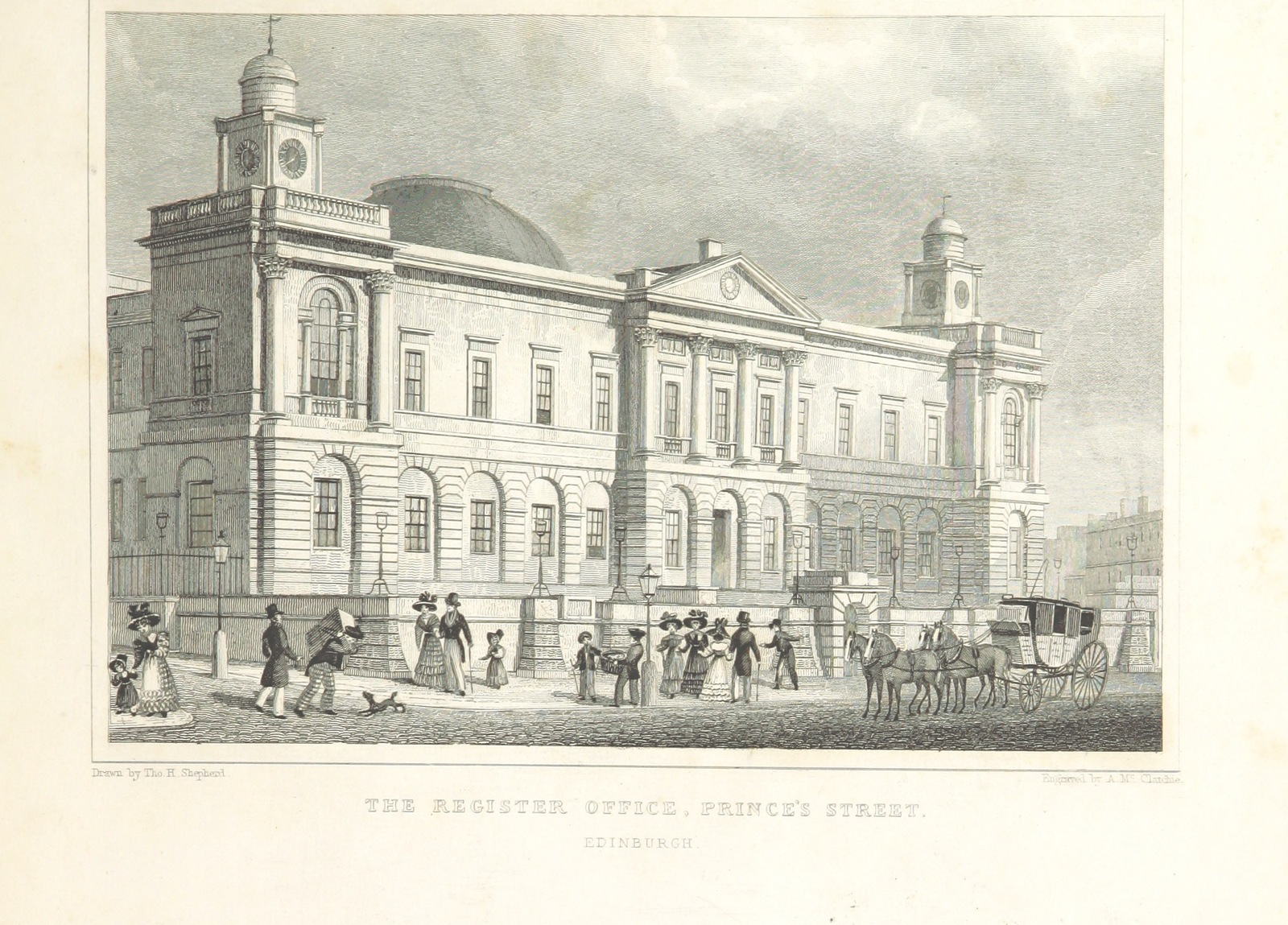 "Register Office from ""Modern Athens, displayed in a series of views; or, Edinburgh in the nineteenth century; exhibiting the whole of the new buildings, modern improvements, antiquities, & picturesque scenery of the Scottish metropolis & its environs, from original drawings by Mr. T. H. Shepherd. With historical, topographical & critical illustrations [by John Britton]"""