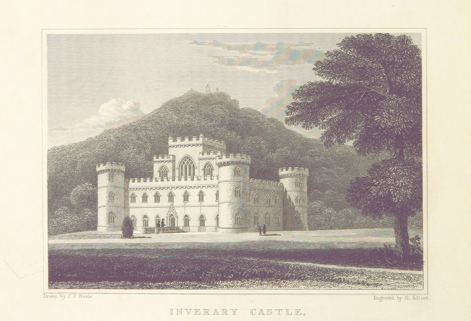 """seat of the Duke of Argyll, chief of Clan Campbell from """"Modern Athens, displayed in a series of views; or, Edinburgh in the nineteenth century; exhibiting the whole of the new buildings, modern improvements, antiquities, & picturesque scenery of the Scottish metropolis & its environs, from original drawings by Mr. T. H. Shepherd. With historical, topographical & critical illustrations [by John Britton]"""""""