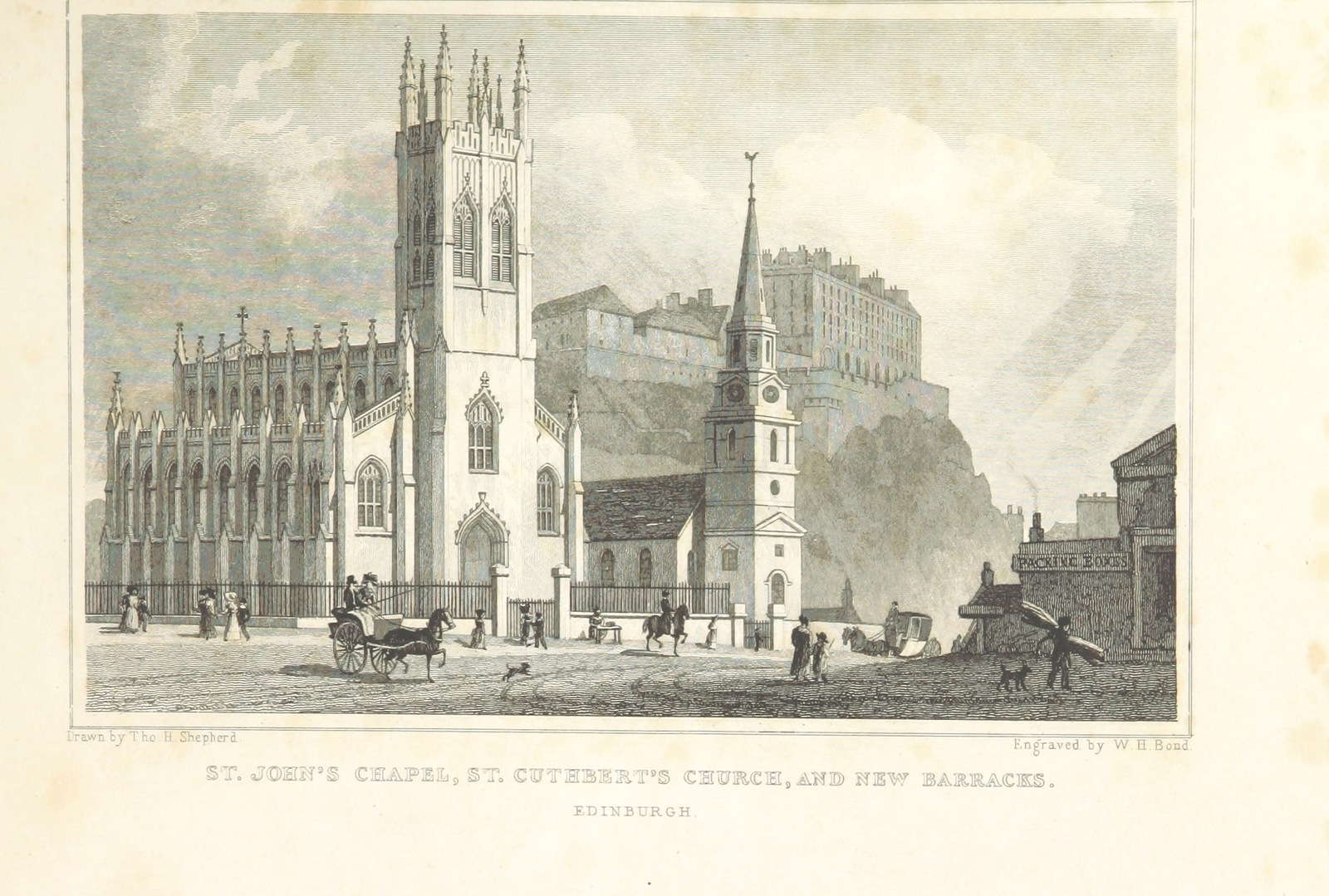 """St Cuthbert's Church, Edinburgh from """"Modern Athens, displayed in a series of views; or, Edinburgh in the nineteenth century; exhibiting the whole of the new buildings, modern improvements, antiquities, & picturesque scenery of the Scottish metropolis & its environs, from original drawings by Mr. T. H. Shepherd. With historical, topographical & critical illustrations [by John Britton]"""""""