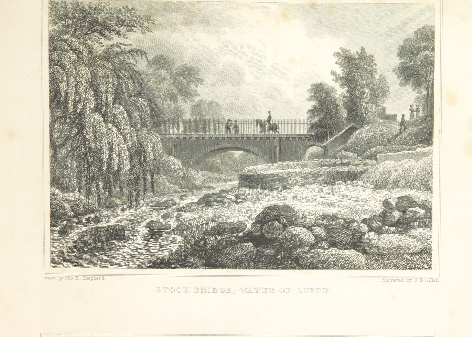 "Water of Leith from ""Modern Athens, displayed in a series of views; or, Edinburgh in the nineteenth century; exhibiting the whole of the new buildings, modern improvements, antiquities, & picturesque scenery of the Scottish metropolis & its environs, from original drawings by Mr. T. H. Shepherd. With historical, topographical & critical illustrations [by John Britton]"""
