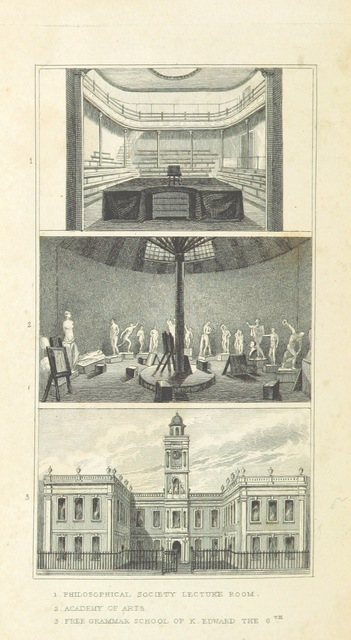 """Birmingham from """"An Historical and Descriptive Sketch of Birmingham, with some account of its environs, and forty-four views of the principal public buildings, etc. [By George Yates?]"""""""