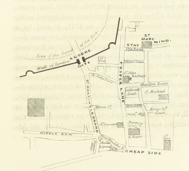 """map from """"Illustrations of the site and neighbourhood of the New Post Office. Comprehending antiquarian notices of St. Martin's-le-Grand and its Liberty ... With an appendix containing an account of the Antient Mourning Bush Tavern, Aldersgate, and various London taverns, its contemporaries. [By W. Herbert.]"""""""