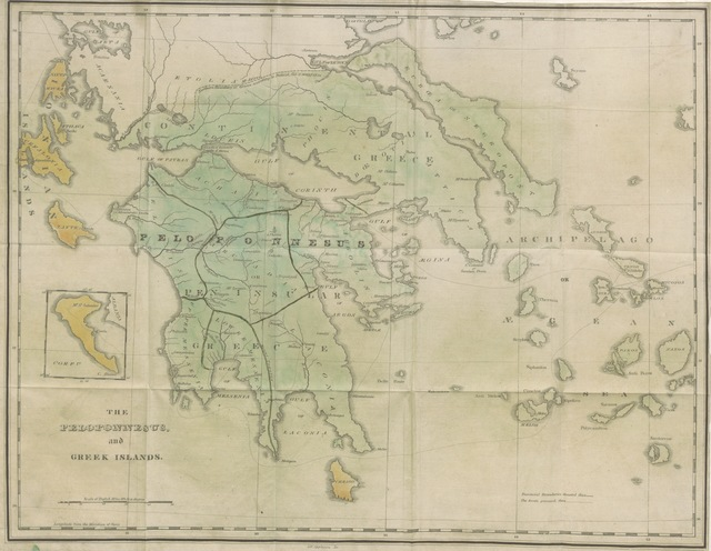 """map from """"Observations on the Peloponnesus and Greek islands, made in 1829. [With a map.]"""""""