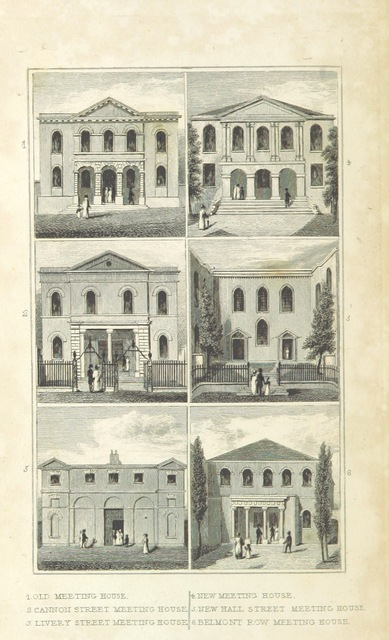 """MeetingHouses from """"An Historical and Descriptive Sketch of Birmingham, with some account of its environs, and forty-four views of the principal public buildings, etc. [By George Yates?]"""""""