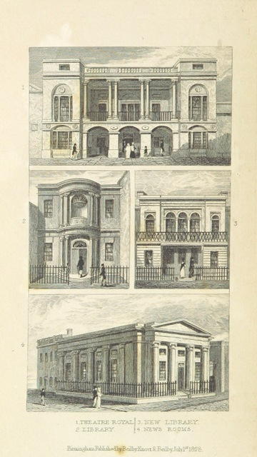"""ootag=Theatre Royal, Library, New Library, News Rooms from """"An Historical and Descriptive Sketch of Birmingham, with some account of its environs, and forty-four views of the principal public buildings, etc. [By George Yates?]"""""""