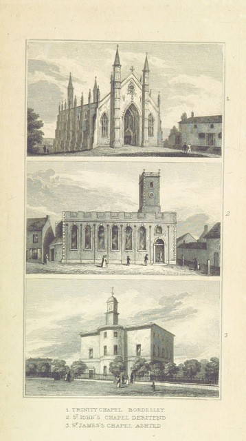"""ootag=Trinity, St John Deritend, St James Ashted, chapels from """"An Historical and Descriptive Sketch of Birmingham, with some account of its environs, and forty-four views of the principal public buildings, etc. [By George Yates?]"""""""