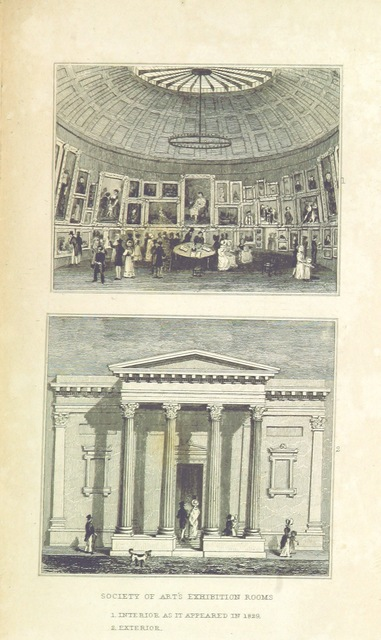 """Society of Art from """"An Historical and Descriptive Sketch of Birmingham, with some account of its environs, and forty-four views of the principal public buildings, etc. [By George Yates?]"""""""