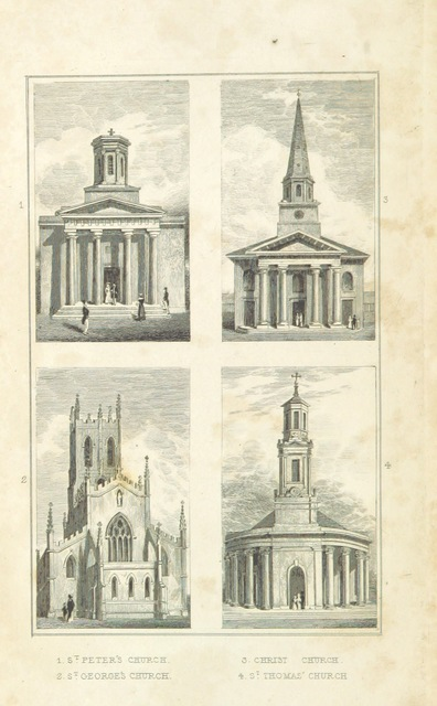 """StThomas from """"An Historical and Descriptive Sketch of Birmingham, with some account of its environs, and forty-four views of the principal public buildings, etc. [By George Yates?]"""""""