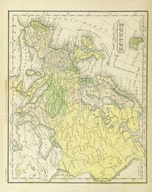 """Europe from """"The Boston School Atlas. With elemental geography and astronomy, etc. (Fourth edition.) [Maps, with explanatory text.]"""""""