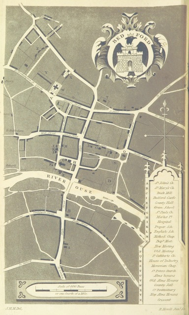 """map from """"Bedford and its environs; or an historical and topographical sketch of the town of Bedford and places adjacent"""""""