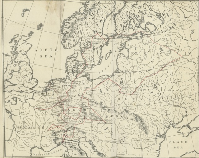 """map from """"Dates and distances, showing what may be done in a tour of sixteen months, through various parts of Europe, as performed in the years 1829 and 1830"""""""