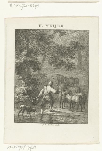 Boslandschap met herder en kudde schapen