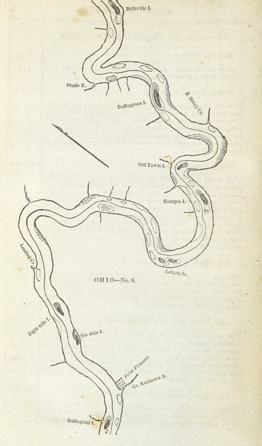 """Ohio River from """"The Western Pilot; containing charts of the Ohio River, and of the Mississippi, from the mouth of the Missouri to the Gulf of Mexico, accompanied with directions for navigating the same, and a gazetteer, etc"""""""
