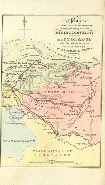 """map from """"An Account of the Mining Districts of Alston Moor, Weardale and Teesdale ... comprising descriptive sketches of the scenery, antiquities, geology and mining operations in the upper dales of the rivers Tyne, Wear, and Tees"""""""